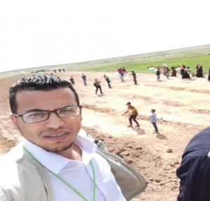 Khaled Al Sbeitan at the Great March of Return